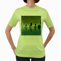 Abstract Gates Doors Stars Women s Green T-Shirt