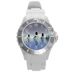Abstract Gates Doors Stars Round Plastic Sport Watch (L)