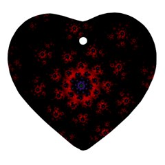 Fractal Abstract Blossom Bloom Red Ornament (Heart)