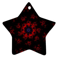 Fractal Abstract Blossom Bloom Red Ornament (star)