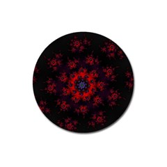 Fractal Abstract Blossom Bloom Red Magnet 3  (round)