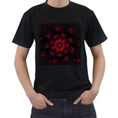 Fractal Abstract Blossom Bloom Red Men s T Shirt (black) (two Sided)