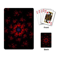 Fractal Abstract Blossom Bloom Red Playing Card