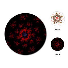 Fractal Abstract Blossom Bloom Red Playing Cards (round)