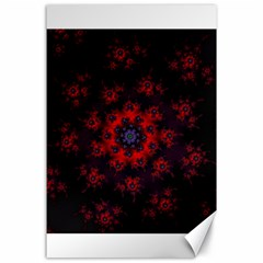 Fractal Abstract Blossom Bloom Red Canvas 24  X 36
