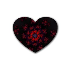 Fractal Abstract Blossom Bloom Red Rubber Coaster (heart)