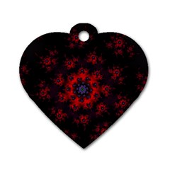 Fractal Abstract Blossom Bloom Red Dog Tag Heart (two Sides)