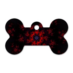 Fractal Abstract Blossom Bloom Red Dog Tag Bone (Two Sides)