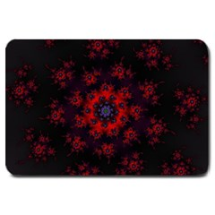 Fractal Abstract Blossom Bloom Red Large Doormat