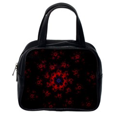 Fractal Abstract Blossom Bloom Red Classic Handbags (One Side)