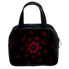 Fractal Abstract Blossom Bloom Red Classic Handbags (2 Sides)