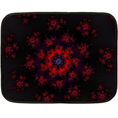 Fractal Abstract Blossom Bloom Red Double Sided Fleece Blanket (Mini)