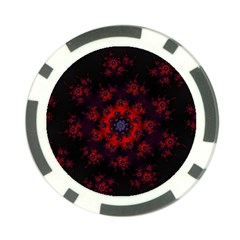 Fractal Abstract Blossom Bloom Red Poker Chip Card Guard (10 pack)