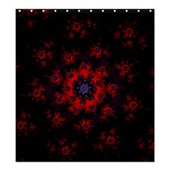 Fractal Abstract Blossom Bloom Red Shower Curtain 66  x 72  (Large)