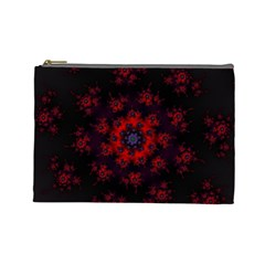 Fractal Abstract Blossom Bloom Red Cosmetic Bag (Large)