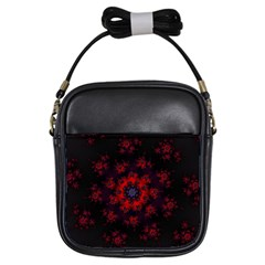 Fractal Abstract Blossom Bloom Red Girls Sling Bags