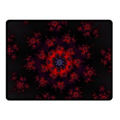Fractal Abstract Blossom Bloom Red Fleece Blanket (small)