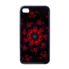 Fractal Abstract Blossom Bloom Red Apple Iphone 4 Case (black)