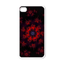 Fractal Abstract Blossom Bloom Red Apple iPhone 4 Case (White)