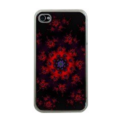 Fractal Abstract Blossom Bloom Red Apple Iphone 4 Case (clear)