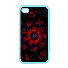 Fractal Abstract Blossom Bloom Red Apple iPhone 4 Case (Color)