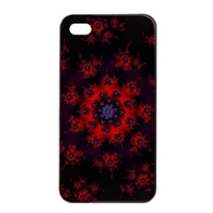 Fractal Abstract Blossom Bloom Red Apple Iphone 4/4s Seamless Case (black)