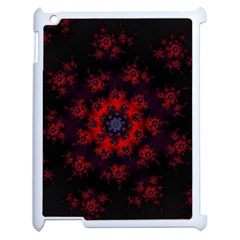 Fractal Abstract Blossom Bloom Red Apple iPad 2 Case (White)