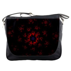 Fractal Abstract Blossom Bloom Red Messenger Bags