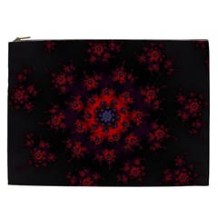 Fractal Abstract Blossom Bloom Red Cosmetic Bag (xxl)