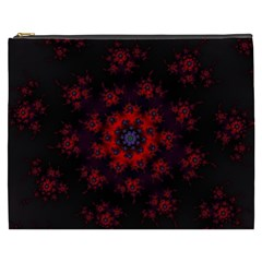 Fractal Abstract Blossom Bloom Red Cosmetic Bag (xxxl)
