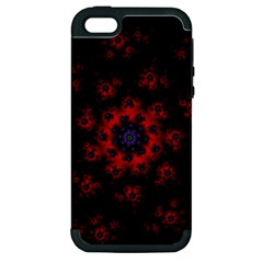 Fractal Abstract Blossom Bloom Red Apple Iphone 5 Hardshell Case (pc+silicone)