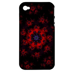 Fractal Abstract Blossom Bloom Red Apple iPhone 4/4S Hardshell Case (PC+Silicone)