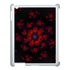 Fractal Abstract Blossom Bloom Red Apple iPad 3/4 Case (White)