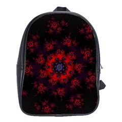Fractal Abstract Blossom Bloom Red School Bags (xl)