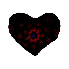 Fractal Abstract Blossom Bloom Red Standard 16  Premium Heart Shape Cushions