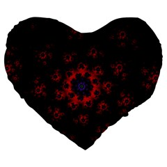 Fractal Abstract Blossom Bloom Red Large 19  Premium Heart Shape Cushions