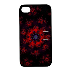 Fractal Abstract Blossom Bloom Red Apple Iphone 4/4s Hardshell Case With Stand