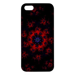 Fractal Abstract Blossom Bloom Red iPhone 5S/ SE Premium Hardshell Case