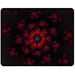 Fractal Abstract Blossom Bloom Red Double Sided Fleece Blanket (Medium)