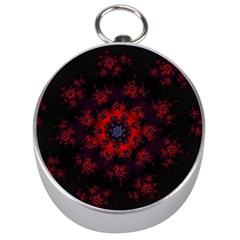 Fractal Abstract Blossom Bloom Red Silver Compasses