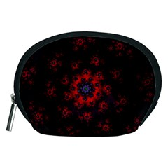 Fractal Abstract Blossom Bloom Red Accessory Pouches (medium)