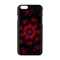 Fractal Abstract Blossom Bloom Red Apple Iphone 6/6s Black Enamel Case