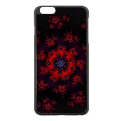 Fractal Abstract Blossom Bloom Red Apple Iphone 6 Plus/6s Plus Black Enamel Case