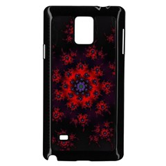 Fractal Abstract Blossom Bloom Red Samsung Galaxy Note 4 Case (Black)