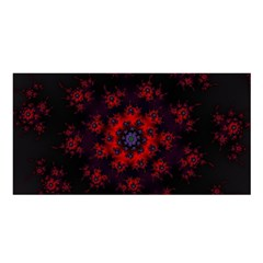 Fractal Abstract Blossom Bloom Red Satin Shawl