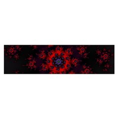 Fractal Abstract Blossom Bloom Red Satin Scarf (Oblong)