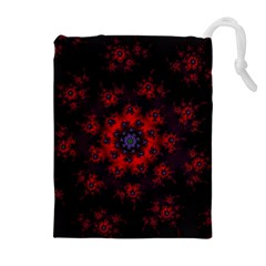 Fractal Abstract Blossom Bloom Red Drawstring Pouches (extra Large)