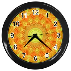 Sunshine Sunny Sun Abstract Yellow Wall Clocks (Black)