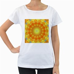 Sunshine Sunny Sun Abstract Yellow Women s Loose-Fit T-Shirt (White)