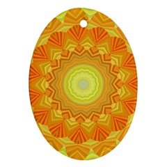 Sunshine Sunny Sun Abstract Yellow Oval Ornament (two Sides)